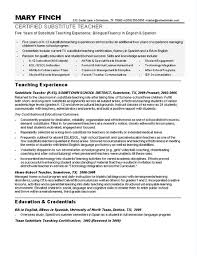 Bilingual Resumes Where Do You Put Bilingual On A Resume Examples Substitute Teacher