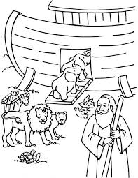 Small Picture Noah Counting the Animals Before Departing the Ark Coloring Page