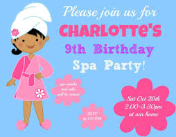 free printable birthday party invitations for girls great 9 year old girls birthday party idea a spa birthday party