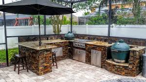 Stone Kitchen Big Green Egg Creative Outdoor Kitchens