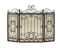 com deco 79 90569 metal fire screen for complete safety at fire place home kitchen