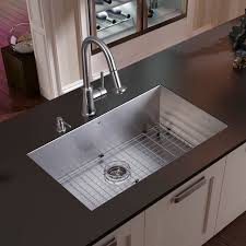 vigo and one undermount stainless kitchen sinks pre drilled faucet hole measures design saving space grid strainer dispens