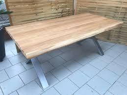 Esstisch Wildeiche Massiv Baumkantentisch 240x100cm Metallfüße X
