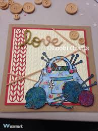 Knitting Cards Designs Loobicrafts Woodware Knitting Bag And Ball Of Wool Stamp