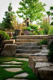 stepping stone round rock traditional landscape and colorful garden landscaping lush stone pavers stone steps