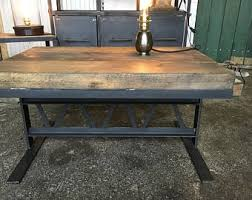 Industrial furniture table Antique Industrial Furniture Coffee Table Made Of Wood And Steel Etsy Industrial Furniture Etsy