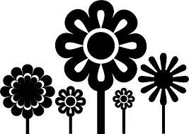 ポップでかわいい花のイラストフリー素材no1147白黒大小5本