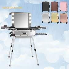 6 types makeup artist train box with lights station trolley studio wheeled case with legs cosmetic