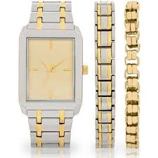 men s two tone watch and bracelet set walmart com men s two tone watch and bracelet set