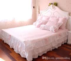 polka pink ruffle princess cotton duvet cover wedding bedding set queen king twin size sheets western bright