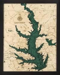 Lake Conroe 3 D Nautical Wood Chart 16 X 20