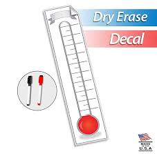 Fundraising Thermometer Goal Setting Chart Dry Erase