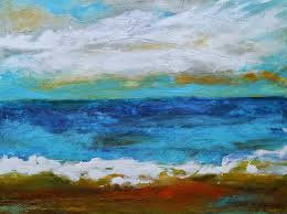 beach abstract painting 24 x 18 by karen fields