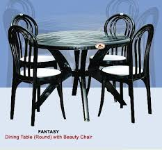 black plastic round dining table with chair height 730 mm