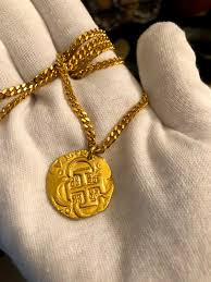 authentic spain 4 escudos shipwreck jewelry treasure coin necklace