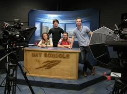 students in bay highs new video production studio left to right jake waffen branson stang andy wirtz and brandon davis photo by karen derby build video studio