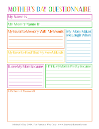 Free Printable Questionnaire Template Joyously Domestic FREE Mother's Day Questionnaire Printable 14