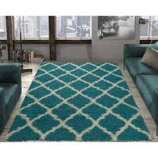 ultimate gy contemporary moroccan trellis design turquoise 8 ft x 10 ft area rug