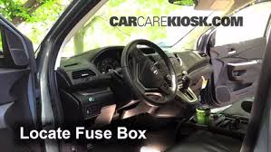 interior fuse box location 2012 2016 honda cr v 2012 honda cr v locate interior fuse box and remove cover