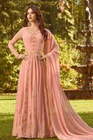 Designer Anarkali Suits Uk Pretty Peach Georgette Embroidered Designer Anarkali Salwar Suit