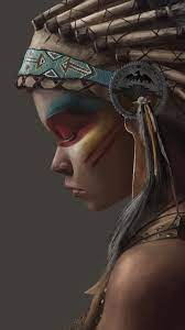 Artistic Native American Girl Feather ...