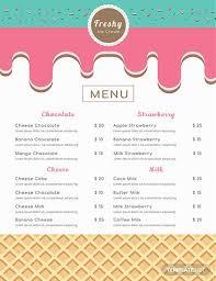 Free Ice Cream Menu Ice Cream Menu Ice Cream Design Ice