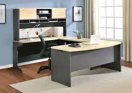 u shape grey wooden office computer desk with cream table top and f shelves plus drawers blonde wood office