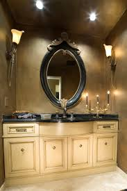 oval black wooden Bathroom Mirror with brown carving accent on the ...