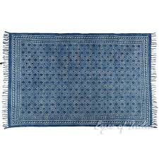 indigo blue cotton block print area accent dhurrie rug dark blue flat weave rug