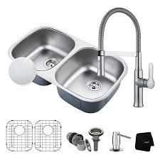kraus outlast 18 in x 32 25 in embossed double basin stainless steel undermount