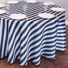 striped satin tablecloth round navy blue white the pretty prop wedding and event hire