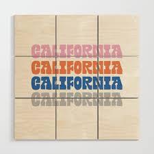 vintage california wood wall art by