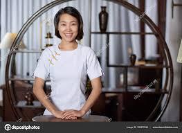 Restaurant Hostess Pretty Smiling Asian Restaurant Hostess Standing Her