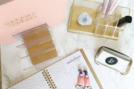 diy files gold and lucite desk accessories