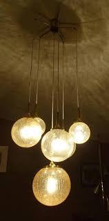german limburg cascade design brass and crashed glass globe chandelier pendant lights for