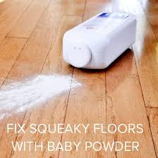 squeaky wood floor baby powder is a quick fix