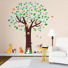 large tree with animal friends nursery wall stickers