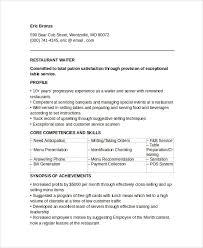 Sample Waitress Resumes Waitress Resume Template Pdf 7 Sample Waiter Resume Templates Sample
