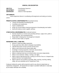 housekeeping supervisor job description housekeeping job duties