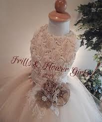 girl size 5 dresses champagne beige chiffon rosette sleeveless with high shoulder full