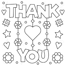 Thank You Coloring Page Vector Illustration Stock Photo Picture