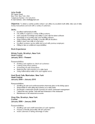 Entry Level Cashier Resume Sample Job And Resume Template