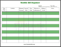 Bill Organizer Fascinating FREE Printable Monthly Bill Organizer Easy Bill Charts Pinterest