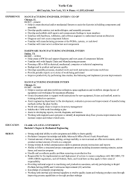 Manufacturing Engineer Intern Resume Samples Velvet Jobs