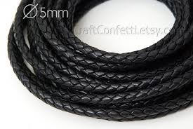black braided cord 5mm black leather cord natural leather cord indian leather cord jewelry supplies jewelry cord genuine leather round cord