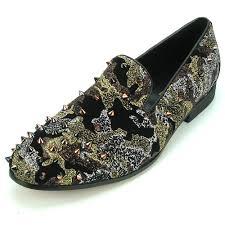 Aurelio Garcia Designer Shoes Fi7127 Black Green Camo Glitter Slip On Spiked Fiesso By Aurelio Garcia