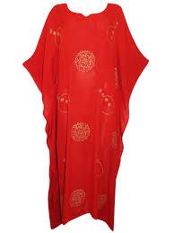 Eaonplus Red Full Length Batik Kaftan Dress Freesize