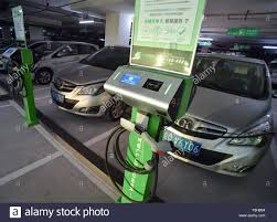 Beijing China Dec Electric Cars Are Charged At A