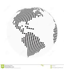 Globe Earth World Map Abstract Dotted Vector Background Black And