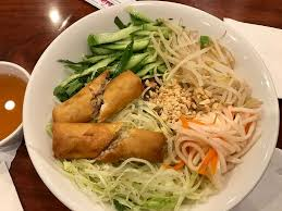 vermicelli with mock beef and egg roll a little bland but good and filling